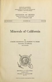 Cover of: Minerals of California | Joseph Murdoch