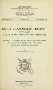 Cover of: Geology and mineral deposits of an area north of San Francisco Bay, California