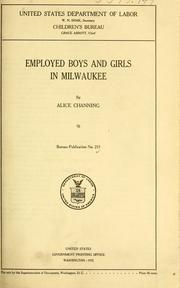 Cover of: Employed boys and girls in Milwaukee