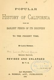 Cover of: A popular history of California