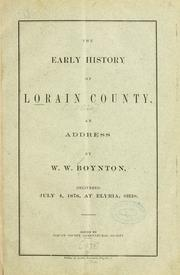Cover of: The early history of Lorain County