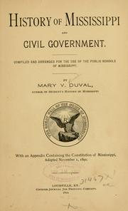 Cover of: History of Mississippi and civil government
