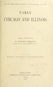 Cover of: Early Chicago and Illinois