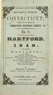 Cover of: Historical notices of Connecticut by William Smith Porter