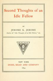 Cover of: The Second Thoughts of an Idle Fellow