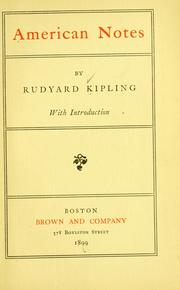 Cover of: American notes | Rudyard Kipling