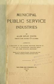 Cover of: Municipal public service industries