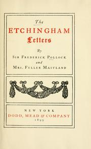 Cover of: The Etchingham letters | Pollock, Frederick Sir