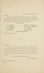 Cover of: A discourse delivered in the Second Presbyterian Church, Elizabeth, N.J. August 6th, 1863 on occasion of the public thanksgiving appointed by Abraham Lincoln, President of the United States, to commemorate the signal victories vouchsafed to the Federal arms