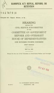 Cover of: Ramspeck Act | United States. Congress. House. Committee on Government Reform and Oversight. Subcommittee on Civil Service.