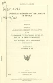Cover of: Oversight hearing on Department of Energy