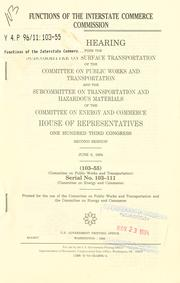 Cover of: Functions of the Interstate Commerce Commission