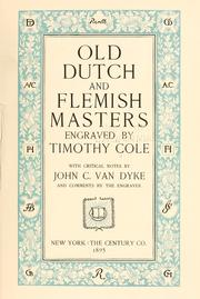 Cover of: Old Dutch and Flemish masters | Timothy Cole