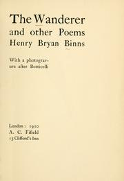 Cover of: The wanderer and other poems