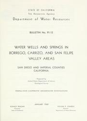 Cover of: Water wells and springs in Borrego, Carrizo, and San Felipe Valley areas | United States Geological Survey