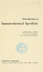 Cover of: Introduction to immunochemical specificity
