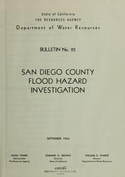 San Diego County flood hazard investigation by California. Dept. of Water Resources.