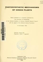 Cover of: Photosynthetic mechanisms of green plants |