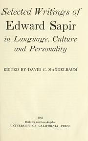 Cover of: Selected writings in language, culture and personality