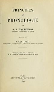 Cover of: Principes de phonologie