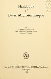 Cover of: Handbook of basic microtechnique