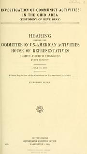Cover of: Investigation of Communist activities in the Ohio area: testimony of Keve Bray.  Hearing