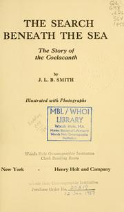 Cover of: The search beneath the sea by J. L. B. Smith