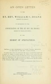 Cover of: open letter to the Rt. Rev. William C. Doane ... | George F. Seymour