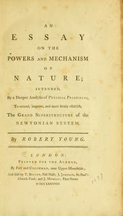 Cover of: An essay on the powers and mechanism of nature