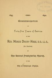 Cover of: Commemoration of forty-five years of service by Richmond (Va.). Second Presbyterian Church.