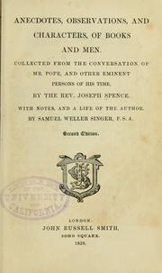 Cover of: Anecdotes, observations, and characters, of books and men