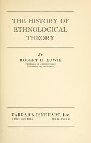 Cover of: The history of ethnological theory