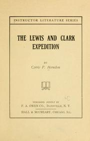Cover of: Lewis and Clark expedition | Carrie P. Herndon