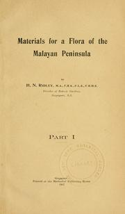 Cover of: Materials for a flora of the Malayan peninsula