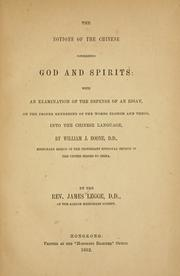 Cover of: The notions of the Chinese concerning God and spirits