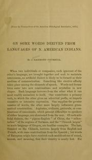 Cover of: On some words derived from languages of N. American Indians