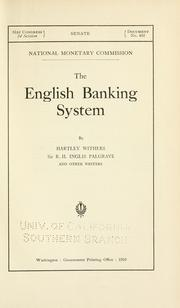 Cover of: The English banking system