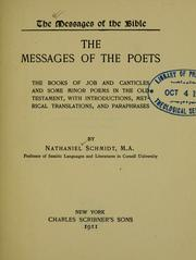 Cover of: The messages of the poets | Nathaniel Schmidt