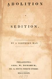 Cover of: Abolition a sedition