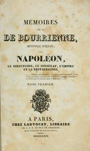 Cover of: Mémoires de M. de Bourrienne, ministre d'état