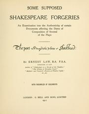 Cover of: Some supposed Shakespeare forgeries | Ernest Philip Alphonse Law