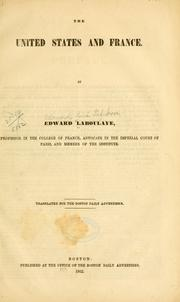 Cover of: The United States and France
