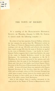 Cover of: The town of Becket