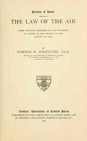 Cover of: law of the air | Harold D. Hazeltine