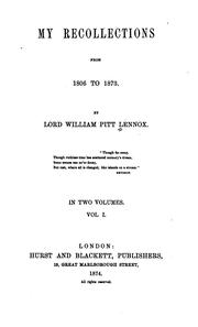 Cover of: My recollections from 1806 to 1873