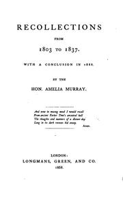 Cover of: Recollections from 1803 to 1837