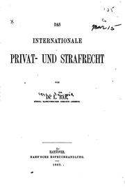 Cover of: Das internationale privat- und strafrecht