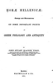 Cover of: Horae Hellenicæ