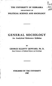 Cover of: General sociology