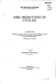 Cover of: Some observations on catalase ..